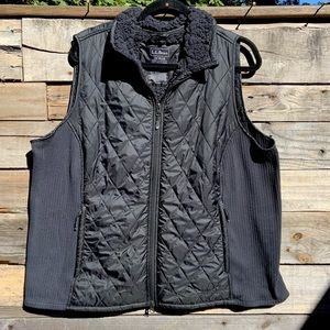 🌻Lands' End Black Sleeveless Quilted Soft & Fuzzy Sherpa Full Zip Vest Size 2X